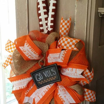 Tennessee Volunteers Wreath Go Vols Wreath Burlap University  of Tennessee UT Tennessee Football Tailgating Tennessee Decor