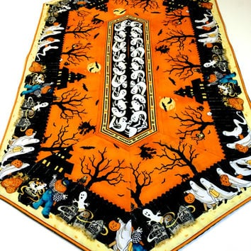 Quilted Table Runner -  Haunted Halloween Table Decor - Spooky Ghost Party Decor - Quilt For Sale - Handmade Orange and Black Table Mat