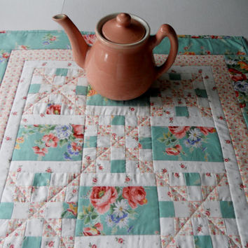 Irish Chain Quilted Table Topper Cottage Chic Aqua and Peach