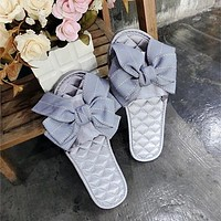 Fashion All-match Manual Bow Satin Rhombus Line Slippers Women Home Lazy Flats Shoes