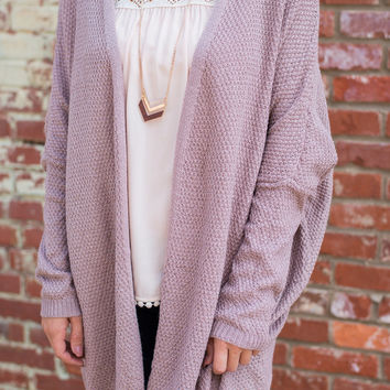 Casual Day Cardigan, Mauve