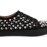 Jeffrey Campbell Riggs Spike in Black Suede Silver at Solestruck.com