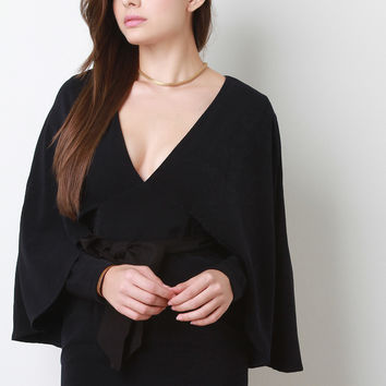 Suede Bow Belt Long Sleeve Cape Dress