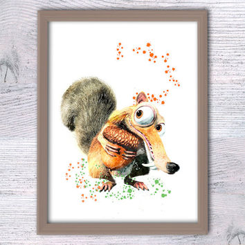 Scrat, Ice age, Scrat and nut, Disney print, Nursery room, Kids art, Wall décor, Scrat squirrel, funny poster, Ice age fan, baby shower V132