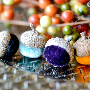 Set of 10 Silk Velvet Acorns in Various Colors, Thanksgiving, Fall Decor, Table Centerpiece, Real Acorn Caps