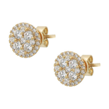 18k Gold Cubic Zirconia Stud Earrings: Flower Sterling SIlver, 10mm