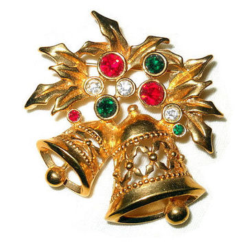 Avon Bell Brooch Christmas Gold Tone Red, Green & Clear Rhinestones Vintage Pin Christmas Jewelry