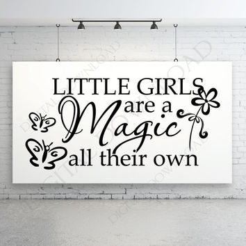 Little Girls - Magic all their own Quote Clipart Vector Download - Ready Digital File, Printable, DIY decor, ai svg pdf, Butterfly Design