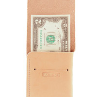 Slim / Minimalist Handmade Leather Snap Wallet in Natural