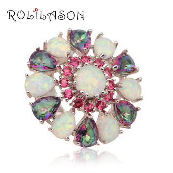 Rose Crystal & Muliticolor Topaz  Women fashion  jewelry  Green & Blue  fire Opal 925 Silver Rings USA size #6 OR595