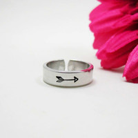 Arrow Ring - Personalized Name Ring - Personalized Ring - Handstamped Ring - Arrow Jewelry - Stamped Arrow - Adjustable Ring - Custom Ring