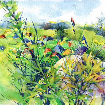 "Watercolor landscape painting - original nature painting - ""Camping on a hills"", paper"