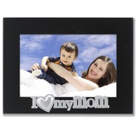Lawrence Frames 4 by 6-Inch Black Wood Mom Picture Frame, Silver Sentiments Collection