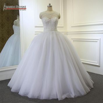Bridal dresses Full Beading Pearls Patterns Ball Gown Wedding Dress