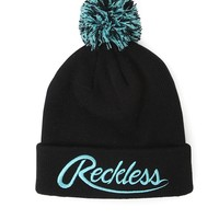 Young & Reckless Big R Script Beanie - Mens Hats - Black/Mint - One