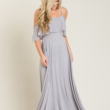 Adele Grey Ruffle Maxi Dress