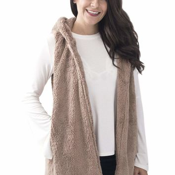 Women's Plush Hooded Vest