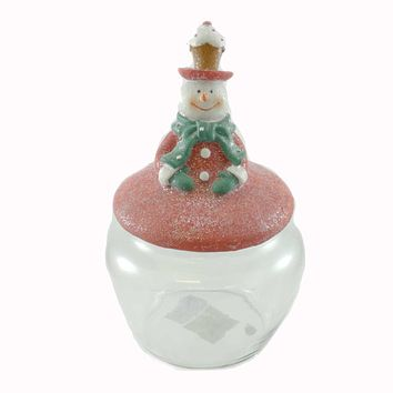 Tabletop Glass Candy Jar W/Snowman Lid Christmas Tabletop