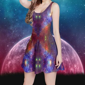 Galaxy Dress | Space Tie Dye Print | Star Dress Moon | Festival Clothing | Hippie Clothes | Psy Trance | Psychedelic Clothing | Kawaii Witch
