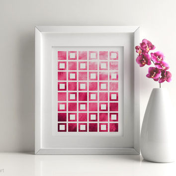 Hot pink art, Hot pink decor, Geometric pink Home office, Hot pink wall art, Pink office art, Hot pink prints, Pink dorm room, Coworker gift