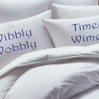 Doctor Who inspired Pillowcase set, Wibbly Wobbly Timey Wimey, Custom, Pillowcase set, pillowcase, bride, groom, pillowcases, wedding gift