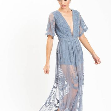 Mila Dusty Blue Lace Maxi Jumpsuit