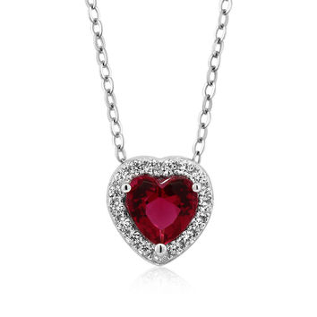1.13 Ct Heart Shape Red Zirconia 925 Sterling Silver Pendant with 18 Inch Chain