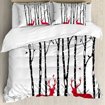 Antlers Duvet Cover Set Deer Tree Forest with Red Holiday Theme Flying Leaves Branch Reindeer Bedding Set Red Black Grey White