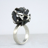 Geometric oxidized silver ring, 3D printed jewelry - Negative/Positive collection
