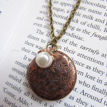 Antique Copper Floral Locket necklace with Pearl charm, long necklace chain