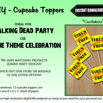 Certified Virus Free Appetizer And Dessert Toppers - INSTANT DIGITAL DOWNLOAD