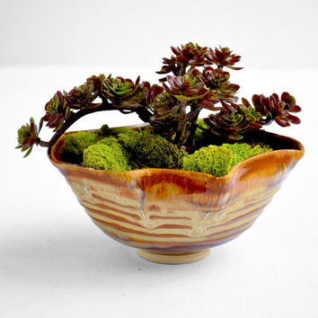 ceramic planter ceramic vessel textured origami ceramics Mens gift caramel brown