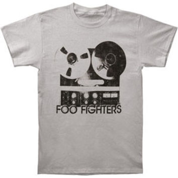 Foo Fighters Men's  Reel To Reel Slim Fit T-shirt Silver Rockabilia