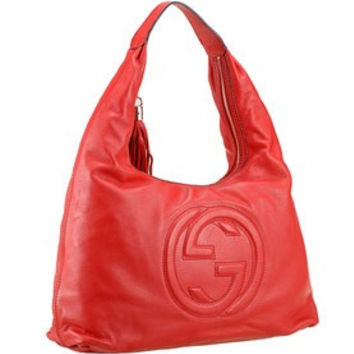 Gucci Soho Large Hobo with Embossed Interlocking G Red