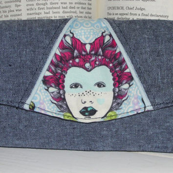 """Necessary Clutch Wallet, RTS, Essex Linen and Tula Pink """"Elizabeth"""" fabric with tudor lining, NCW, Handmade, Card Slots, iPhone, wristlet"""