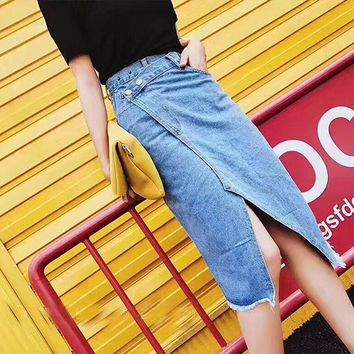 Summer Asymmetrical Denim Skirts Womens High Waist Pockets Long Jeans Skirt Plus Size Sexy harajuku Skirt faldas mujer saias