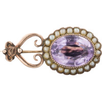 Antique Gold Amethyst & Pearl Halley's Comet Pin, 10k Gold Natural Amethyst Edwardian Pin