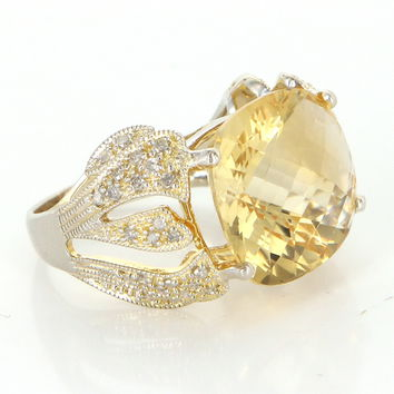Vintage Lemon Quartz Diamond Cocktail Ring 14 Karat Yellow Gold Estate Fine Jewelry