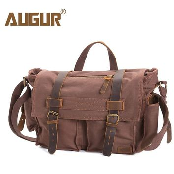 AUGUR Fashion Men's HandBag Vintage High Quality Canvas Male Travel Shoulder Crossbody Vintage Military bag for Men and Women