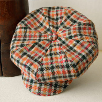 Orange Gray Plaid Patterned Tweed Newsboy Cap - Pure Wool Tweed Handmade Eight Piece / Bakerboy / Apple / Newsboy / Flat Cap - Men Women