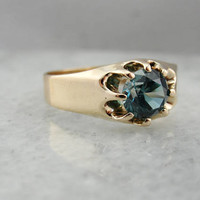 Antique Belcher Ring Set with Teal Blue Zircon Gemstone RVATKX-P