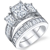 2 Carat Radiant Cut Cubic Zirconia CZ Sterling Silver Women's Engagement Ring Set Sizes 4 to 11