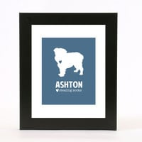 dog silhouette wall art print 8x10 custom gift