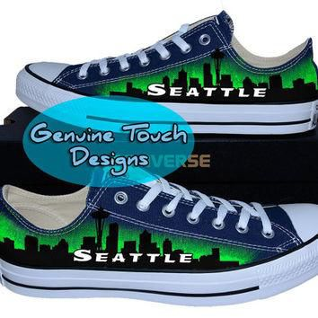 Hand Painted Converse, Seattle, Skyline, Space needle, Custom converse, Birthday Gifts