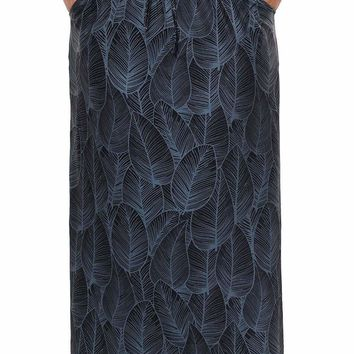 Plus Size Leaves Print Elastic Waist Maxi Skirt with Slits