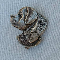 Newfoundland Dog Pewter Lapel Pin Figural Jewelry