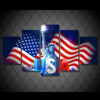 USA flag with Statue of Liberty HD print 5 piece panel canvas wall art print