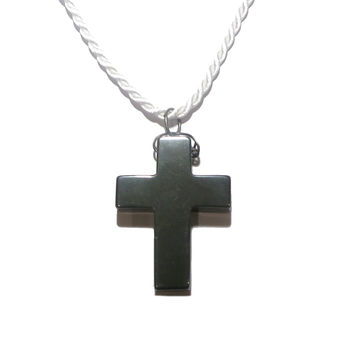 Hematite Necklace 06 Chunky Black Stone Cross