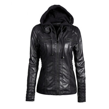 Faux Leather Moto Jacket w/ Detachable Hood