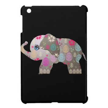 Cute baby elephant with pattern iPad mini cover from Zazzle.com